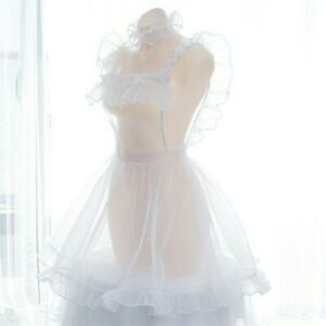 Lady-Organza-Sheer-Night-Dress-Maid-Outfit-Ruffle-Lolita-See-through-Mesh-Casual