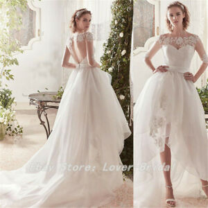 Details About Boho High Low Wedding Dress Classic Appliques Lace Tulle Wedding Gowns Custom
