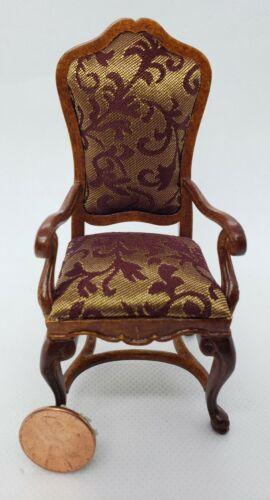 Dollhouse Miniature Castilian Carver Chair Walnut 1:12