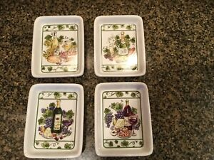 Details About Set Of 4 Bread Dipping Plates In Wine Grape Decor 5 X 4 I Godinger Co