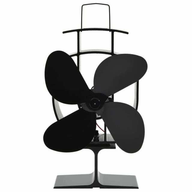 vidaXL Ventilateur de Poêle Alimenté par Chaleur 4 Pales Cheminée Maison H