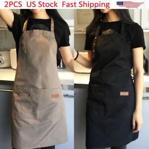 2Pcs Women Dress Apron Waterproof Pockets Kitchen Baking Cooking Adjustable Bib