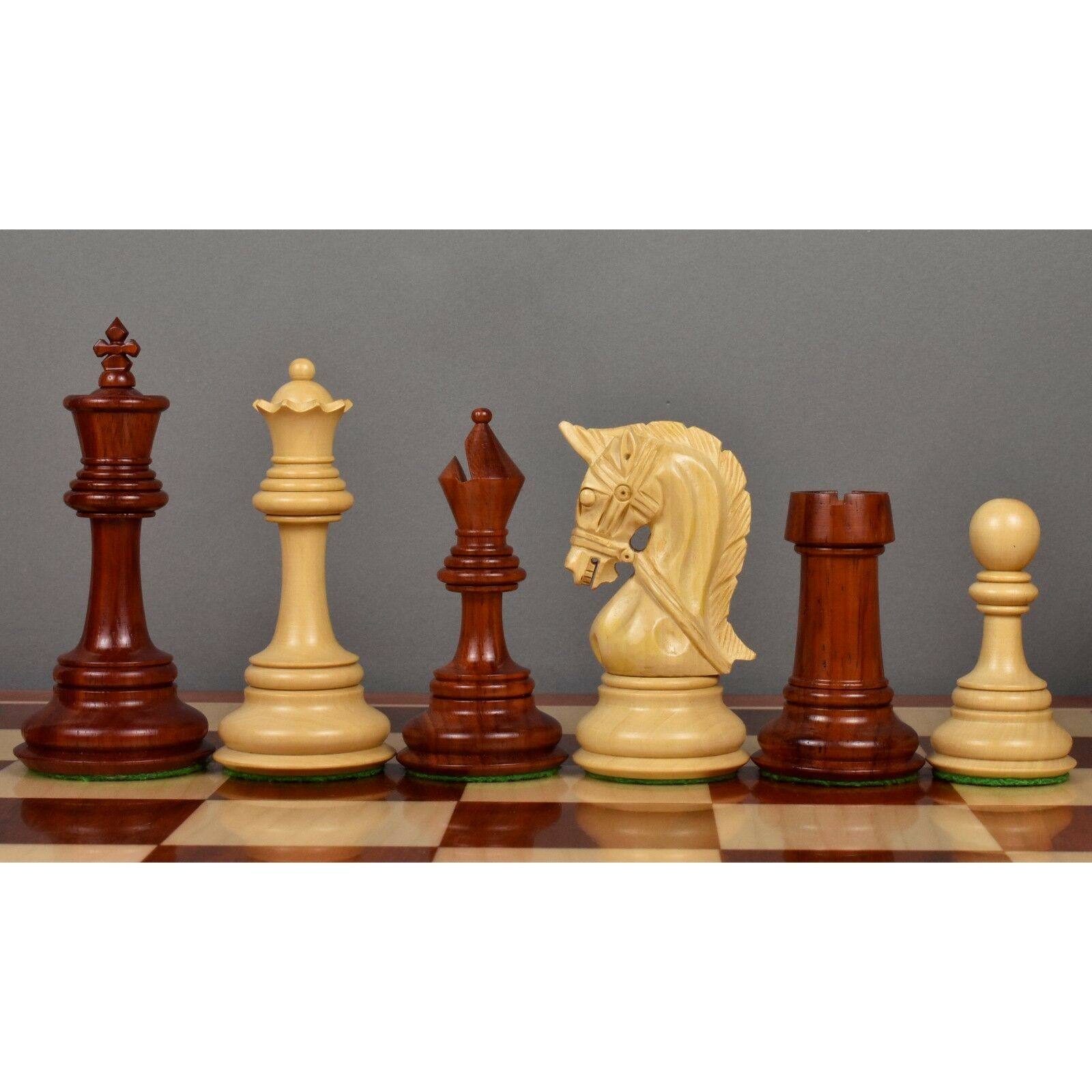 4.2  Grand Staunton Triple Weighted Luxury Chess Pieces Only set Bud pink Wood