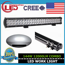 23INCH 144W SPOT FLOOD WORK DRIVING LED LIGHT BAR 12V 24V 4WD TRAILER SUV 126