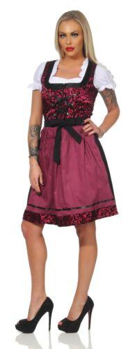 Dirndl Trachtenkleid 3 Teilig Set Oktoberfest Blau Rot Pink Schwarz Gr 34-46
