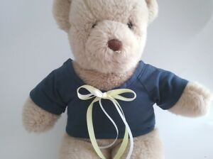 Teddy-Bear-Clothes-Handmade-Navy-Blue-Jersey-T-Shirt-Yellow-amp-White-Trim