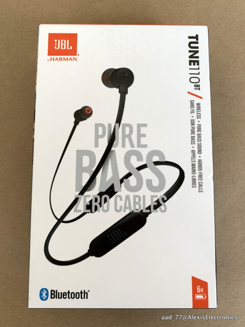 NEW JBL TUNE110BT T110BT WIRELESS IN-EAR HEADPHONES PURE BASS COLOR: BLACK