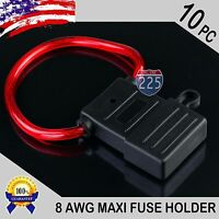 10 Pack 8 Gauge Maxi Style Inline Blade Fuse Holder With Waterproof Pvc Cover Us