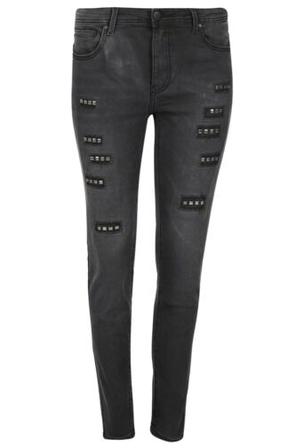 Les femmes devant clouté denim jeans femmes Skinny Ajusté Délavé Stretch Pantalon