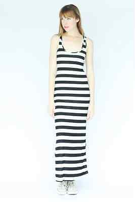 Black White Vacation Striped Racer Back Raceback Summer Dating BEACH Maxi Dress
