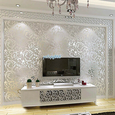3D Floral Pattern Damask Embossed Wall Paper Glitter Silver Grey Luxury Modern