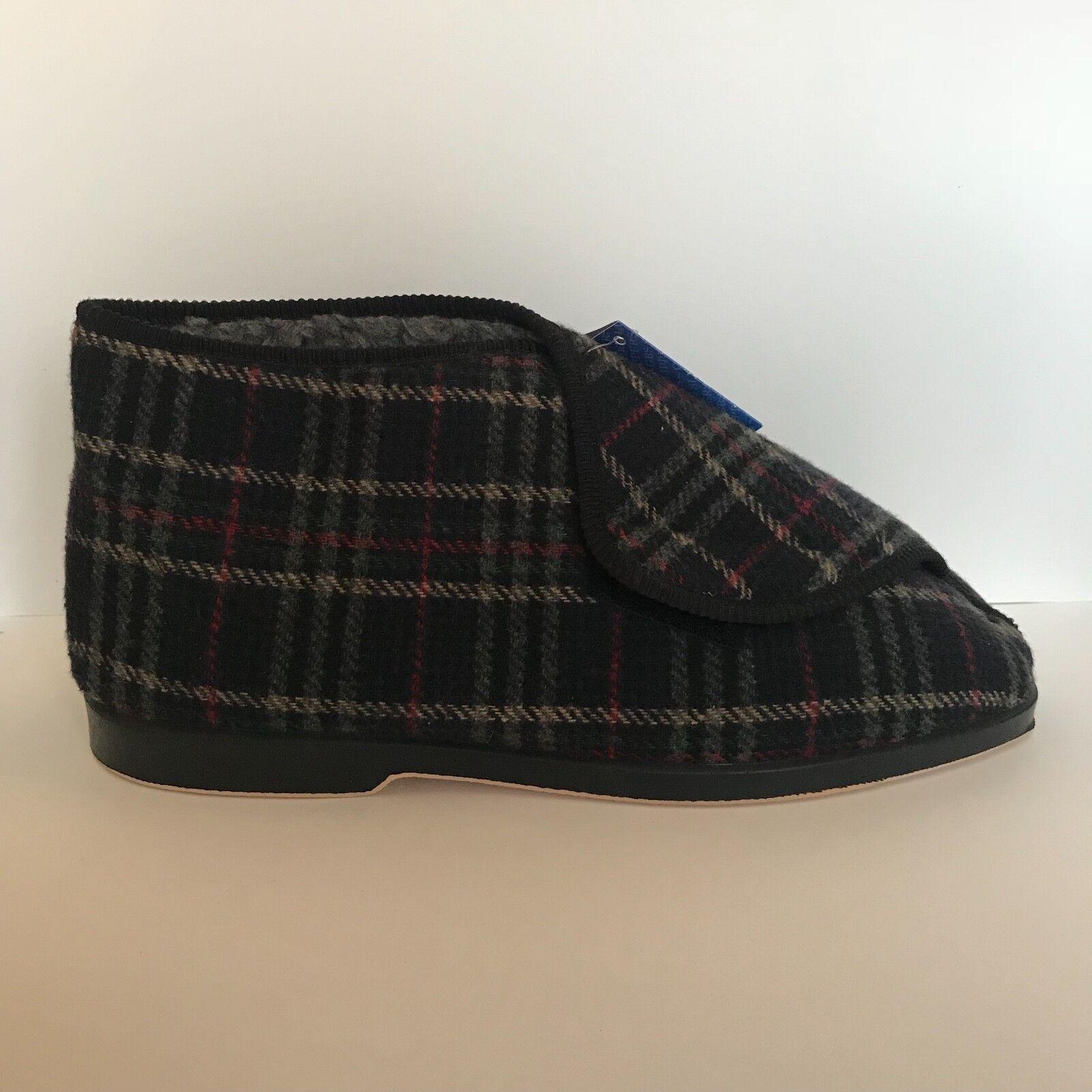 GBS William Navy bluee Check Print Velcro Comfort Boot Slippers UK 12 EU 46