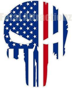 Rugged-American-Flag-Skull-Marine-Dress-Blues-Red-Line-Vinyl-Sticker-Decal-USA