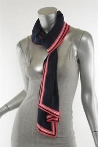 nuovi stili 223c0 2a33a Dettagli su Chanel Navy Rosa Seta Lana cc Imbottito Logo Stampato Sciarpa  Lunga Stola