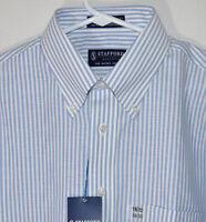 Stafford Essentials Blue Striped Oxford Shirt Cotton Blend Men's 16.5 32-33