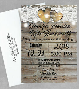Personalized Wedding Invitations.Details About 100 Personalized Wedding Invitations With Rsvp Rustic Theme Invites Country Farm