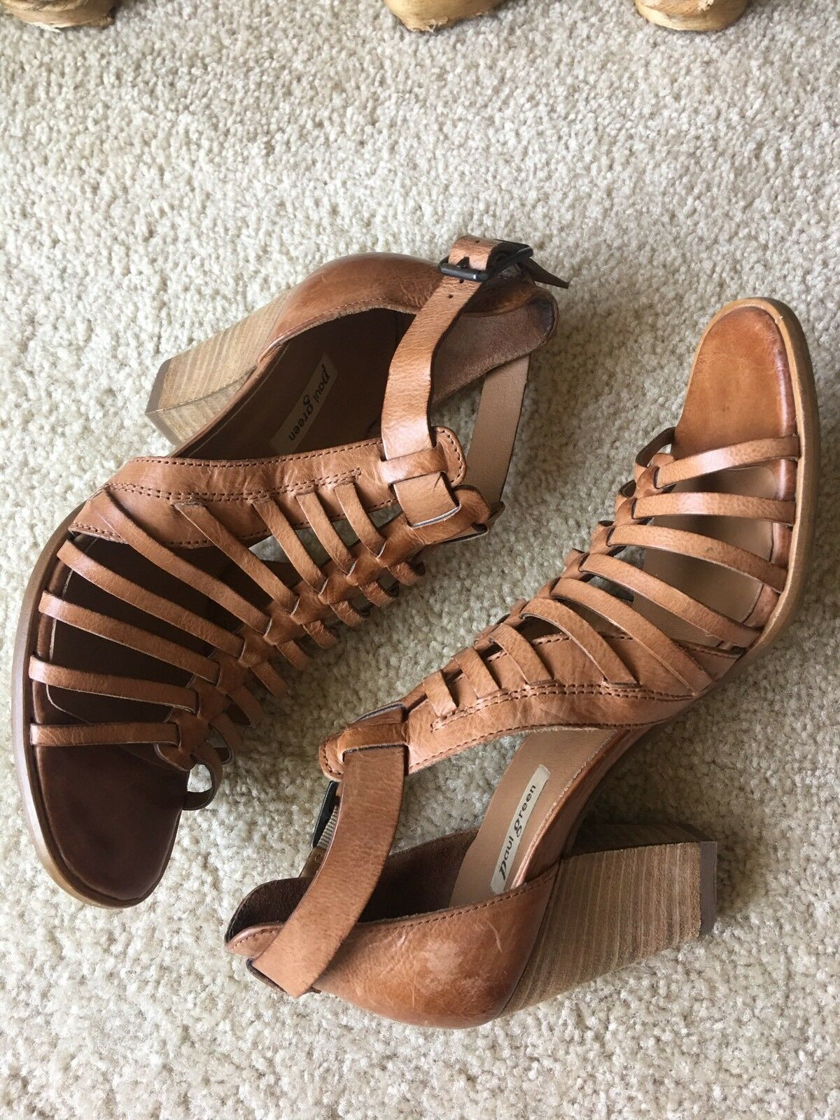 339 Paul verde  Christy  Tan Leather Strappy Sandals Heels Sz 36  UK3 1 2