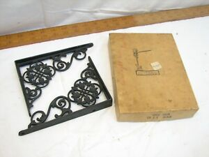 Pr Antique Iron Iron Company Ornate Scroll Work Shelf Brackets Garden Decor Box