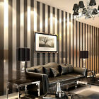 10m Modern Minimalist Non-woven Vertical Stripes Wallpaper Roll Black gray 5.3㎡