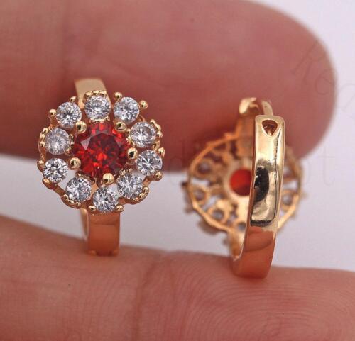 18K Gold Filled Earrings Ruby zircon blanc topaz Cercle Fleur Oreille Cerceaux Punk
