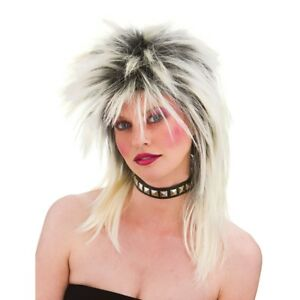 Ladies Rock Chick Emo Punk Costume Parrucca Party Accessorio 80 S 80 S NUOVO