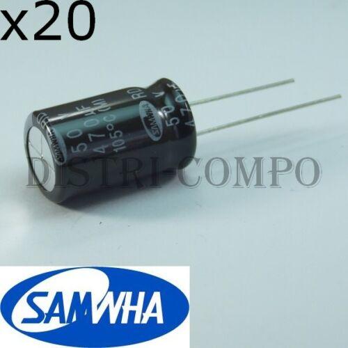 lot de 20 Condensateur 50V 470µF électrolytique 20x12.5mm RM5 105° samwha