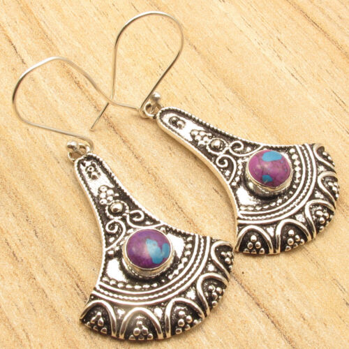 PURPLE COPPER TURQUOISE Silver Plated Jewelry 5.1 cm Eye-Catching Earrings