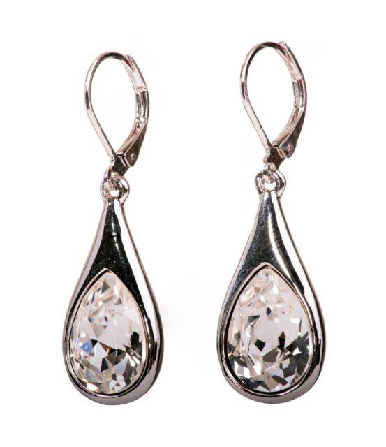 Swarovski Elements Crystal Teardrop Pierced Earrings Rhodium Authentic New 7334z