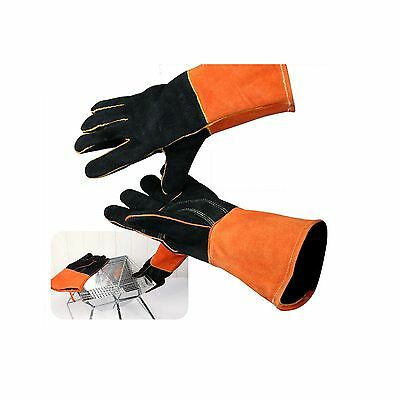 New Camping Barbecue Heat Resistant Leather Gloves Fireside BBQ Hand Protector