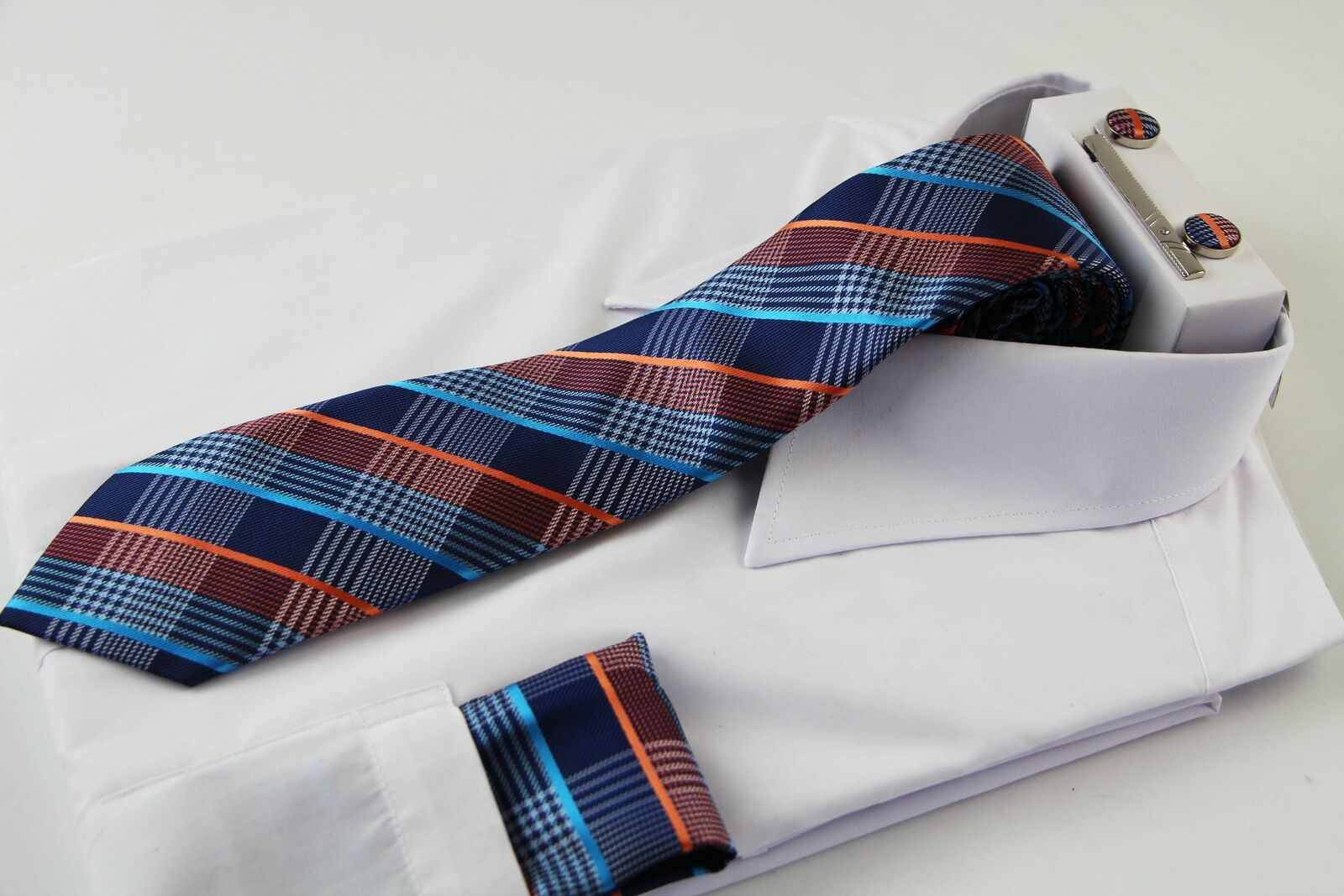 Mens Blue & Orange Checkered Matching Neck Tie, Pocket Square, Cuff Links And