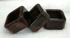 3 Antique Bakelite Catalin Napkin Rings In Brown w Cream Yellow Square Shape SHP