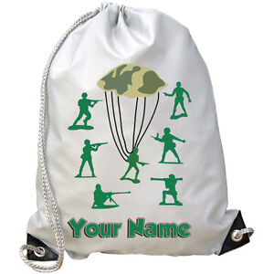 GYM PE BAG *GREAT BOYS NAMED GIFT* GREEN TOY SOLDIERS PERSONALISED SWIMMING