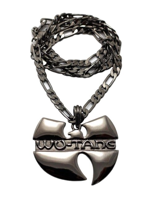Hip Hop Stainless Steel WU TANG Clan Inspired Pendant Necklace Figaro Chain MSP