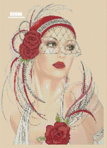 Art Deco Lady Cross stitch chart  Art Deco Lady 3d red roses   FlowerPower37-Uk