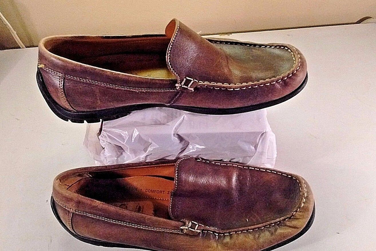 ECCO Men's Brown Leather Driving Loafers Moc Toe Casual Dress Comfort Shoes 11 M