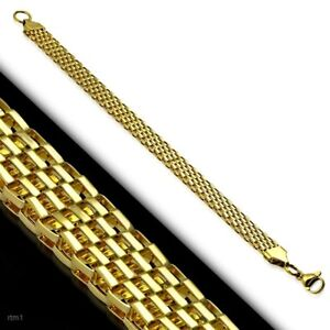Mens-Mesh-Bracelet-Gold-PVD-or-Silver-color-Stainless-Surgical-Steel