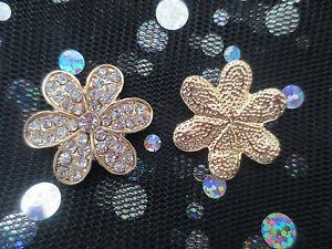 Gold-Alloy-DIY-Flat-Back-Rhinestone-Flower-Daisy-Cabochon-X2-Wedding-Phone-Deco