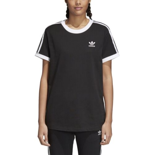 adidas 3 Stripes  T-shirt Schwarz Damen