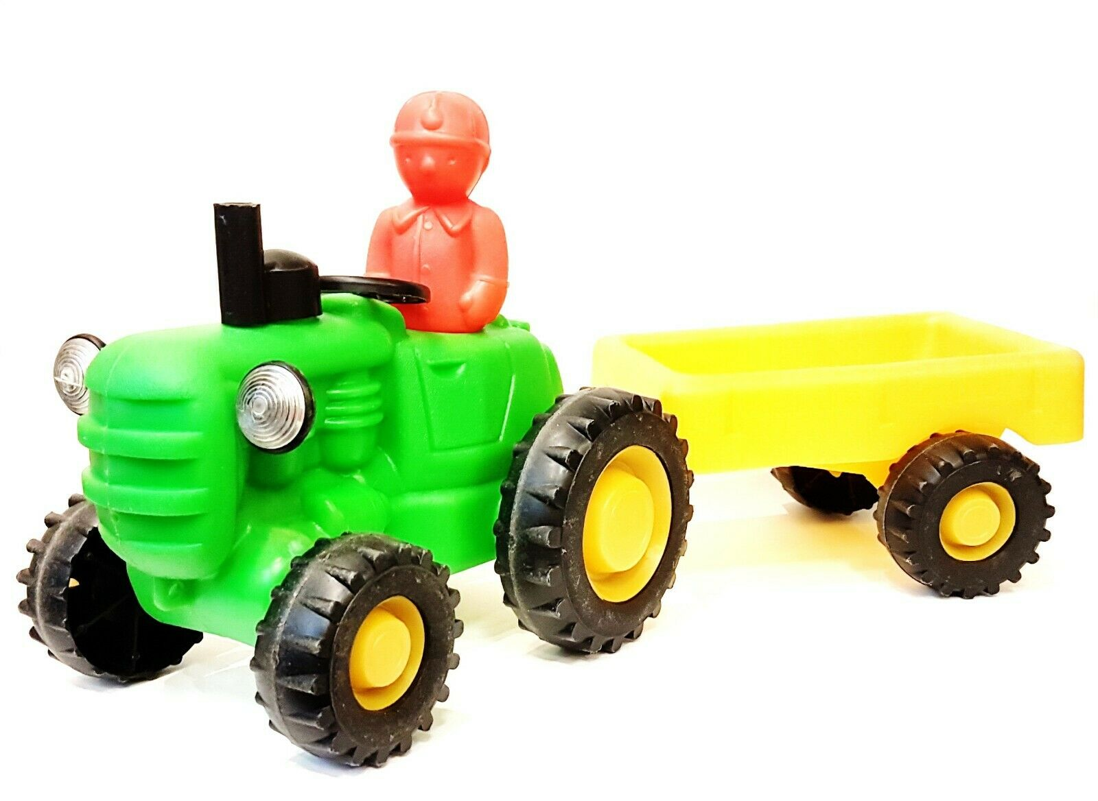 Vintage USSR Toy Tractor with Trailer and Driver Polyethylene 1970s