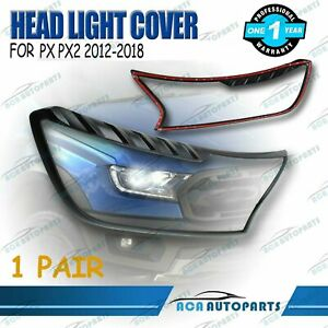 BLACK-HEAD-LIGHT-LAMP-FRONT-COVER-TRIM-FIT-FOR-FORD-RANGER-PX2-2012-2018