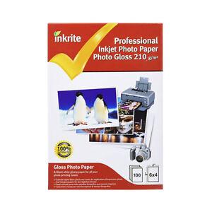 Inkrite Professional Quality Inkjet Photo Paper - A6 6x4 Photo Gloss 210gsm - 10