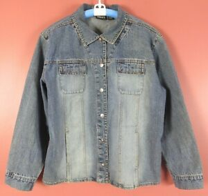 CJ0873-CHICO-039-S-Women-039-s-Cotton-Denim-Jean-Jacket-Pockets-Light-Jean-Blue-3-L-XL