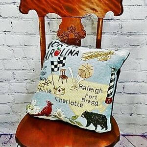 Nwot Accent Decorative Pillow North Carolina Tapestry Map Landmarks Symbols Ebay