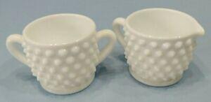 Vintage-Fenton-Milk-Glass-Hobnail-Mini-Sugar-and-Creamer