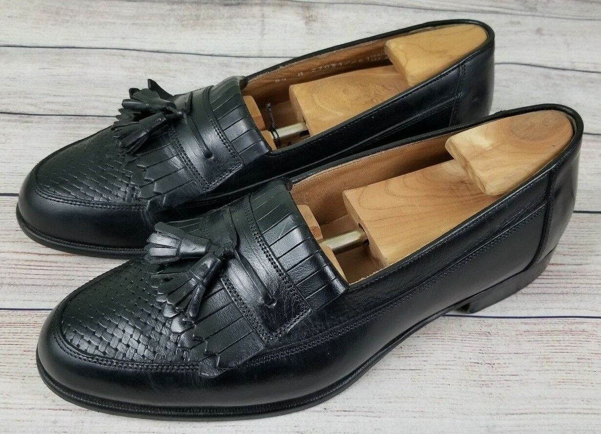 Bostonian Florentine Mens Weave Leather Tassel Slip On Loafers 8.5M Black