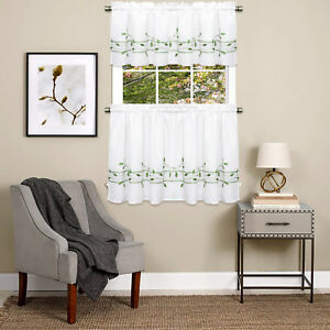 Details about Trellis Scrolling Leaf Pattern Kitchen Window Curtain Tiers  or Valance Green