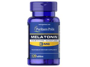Puritans-Pride-Melatonin-3mg-120-240-360-480-Tabl-Besserer-Schlaf-JET-LAG-FREE