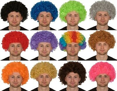 CURLY AFRO FANCY DRESS WIGS FUNKY DISCO CLOWN STYLE MENS//LADIES COSTUME 70S HAIR