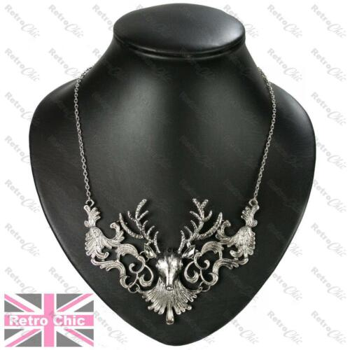 LARGE STAG NECKLACE chain BIG ANTLERS brass//vintage silver//antique gold plated