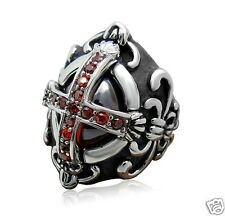 Knights Templar Noble Cross Oval Ruby CZ Stones Stainless Steel Ring Size11